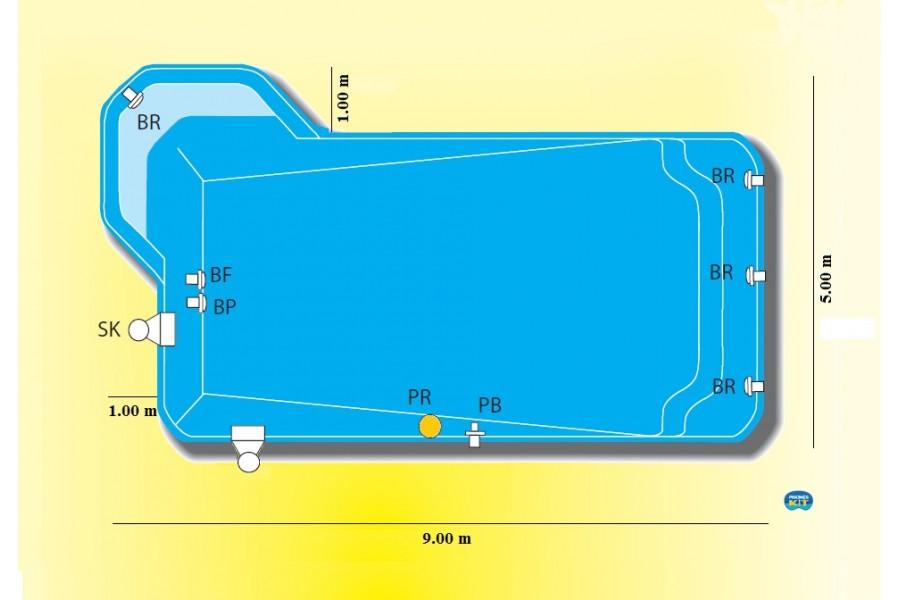 Kit piscine coque polyester porto rico for Kit coque piscine