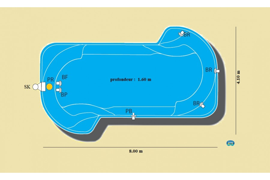 Kit piscine coque polyester mykonos for Kit piscine coque