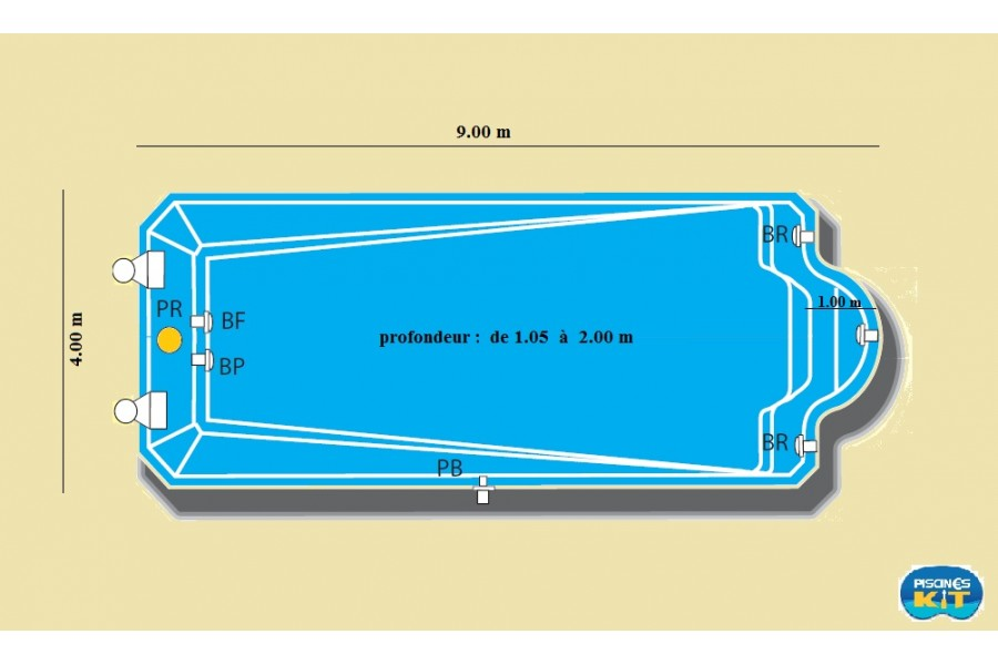 Kit piscine bal ares coque polyester for Kit piscine coque polyester