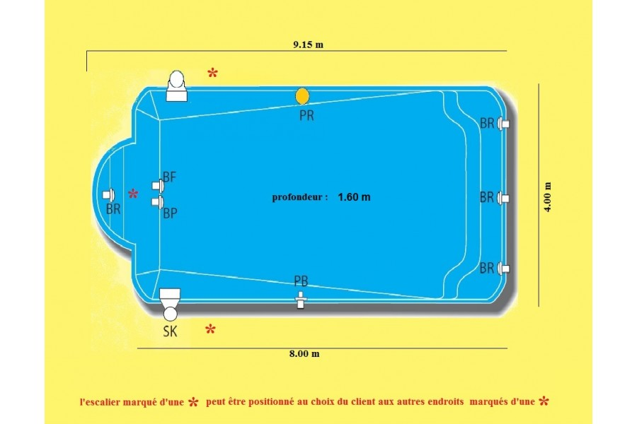 Piscine caspienne kit piscine coque polyester for Dimension piscine coque