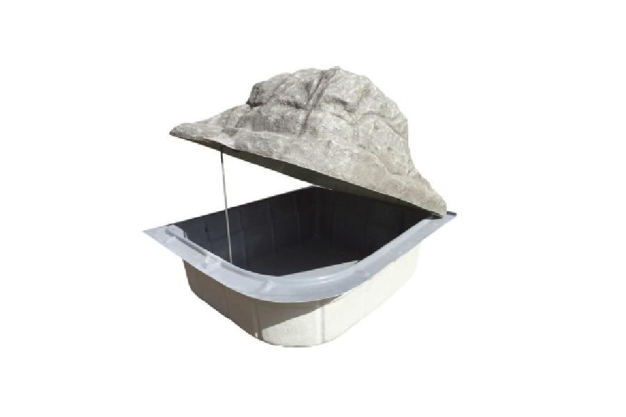 Local technique de filtration semi enterr gris for Local technique piscine rocher